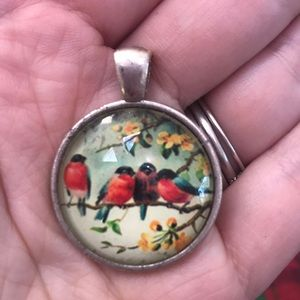 Jewelry - Bird floral resin dome cabochon pendant silver